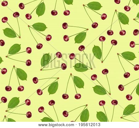 Seamless pattern sweet fresh cherry with green leaf isolated on yellow background