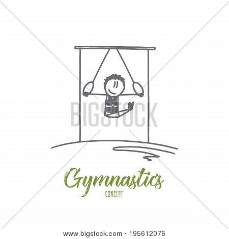 Gymnastics concept. Hand drawn gymnast on stationary rings. Athlete doing gymnast exercises isolated vector illustration.