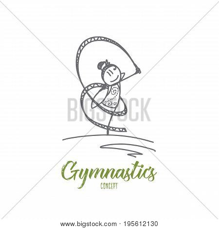 Gymnastics concept. Hand drawn young girl doing gymnastics with ribbon. Happy female athlete doing gymnast exercises isolated vector illustration.