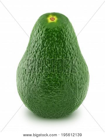 Green avocado isolated on white background. Full depth of field