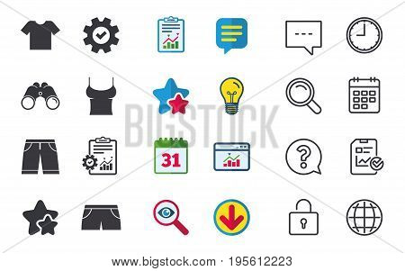 Clothes icons. T-shirt and bermuda shorts signs. Swimming trunks symbol. Chat, Report and Calendar signs. Stars, Statistics and Download icons. Question, Clock and Globe. Vector
