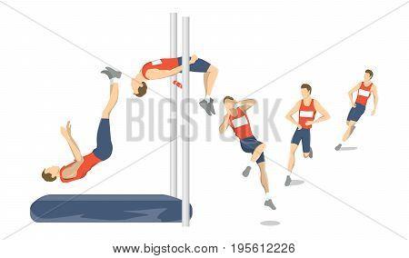 High jump set. Athlete jumps high under the bar.