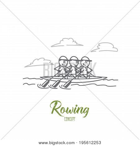 Rowing concept. Hand drawn rowers paddling in a lake. Sportsmen in boat isolated vector illustration.