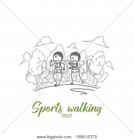 Sports walking concept. Hand drawn two sportsmen on marathon. Sports walking competition isolated vector illustration.