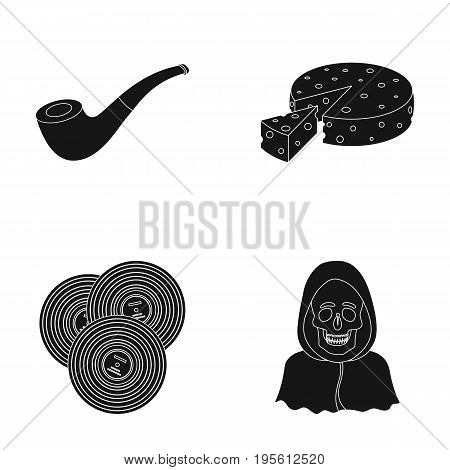 police, art and or  icon in black style. ritual, Cooking icons in set collection.