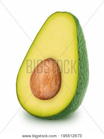 Half of green avocado with seed isolated on white background.
