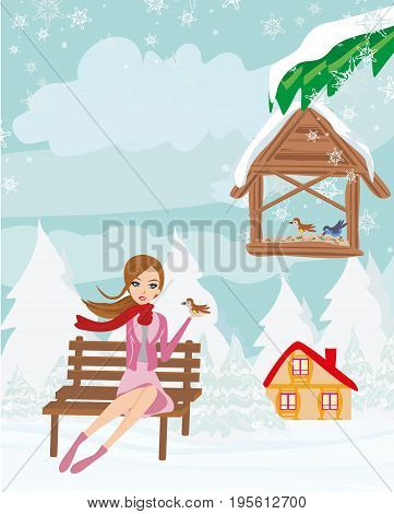 Girl feeds the birds in winter , vector illustration