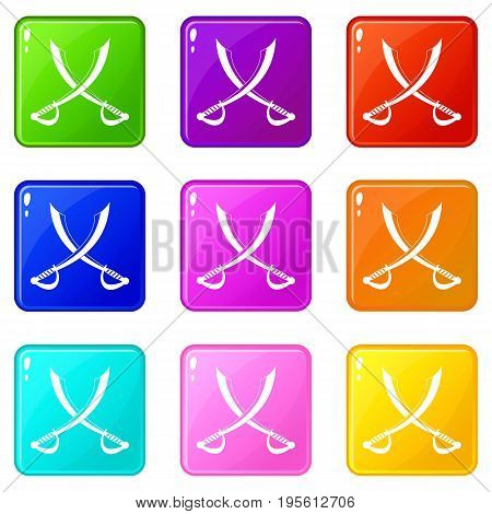 Crossed sabers icons of 9 color set isolated vector illustration