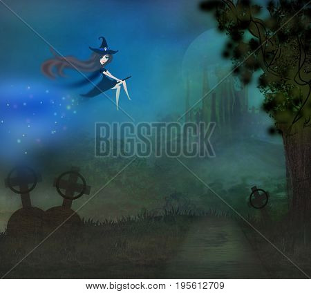 Witch flying on a broom in moonlight , raster