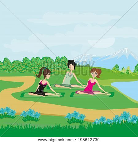 women Exercises in the park , vector illustration