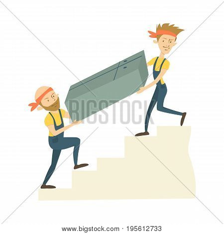 Furniture delivery service. Men carry closet on the stairs.