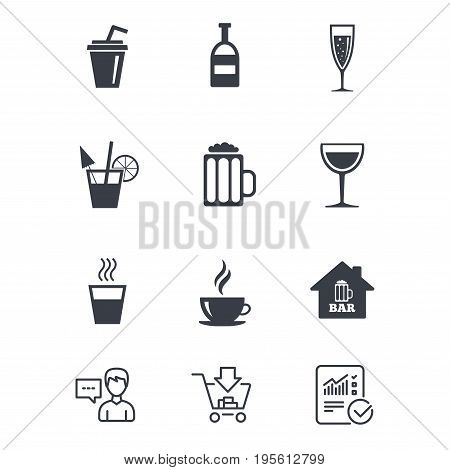 Coffee, tea icons. Beer, wine and cocktail signs. Soft and alcohol drinks symbols. Customer service, Shopping cart and Report line signs. Online shopping and Statistics. Vector