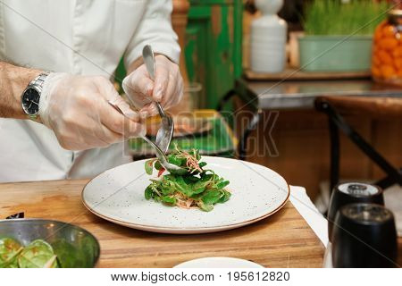 Professional chef is serving vegetable starter