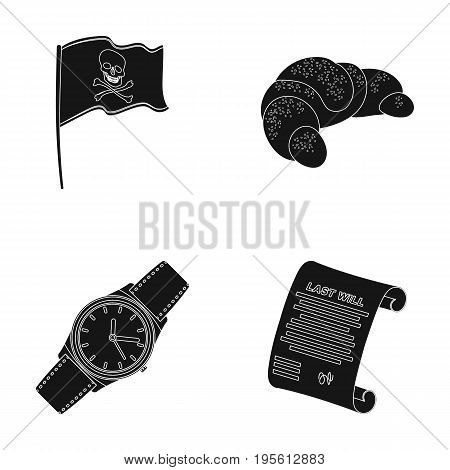 travel, Time and or  icon in black style.Cooking, finances icons in set collection.