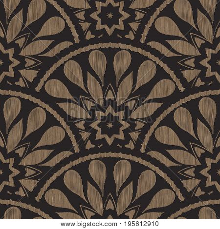Vector seamless embroidery ethnic pattern with fish scale layout. Brown black drop-shaped elements with line texture background