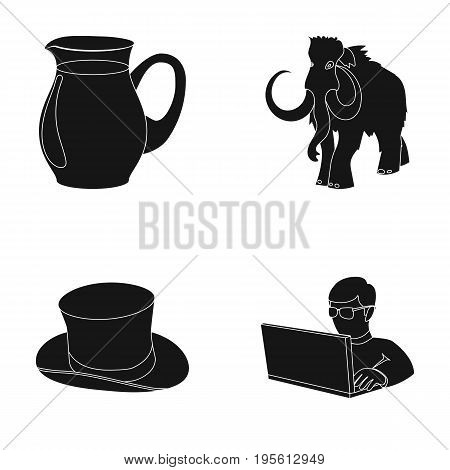 food, fashion and or  icon in black style.history, computer icons in set collection.