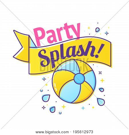 Pool party label with inflatable ball and splash in swim pool water. Vector illustration