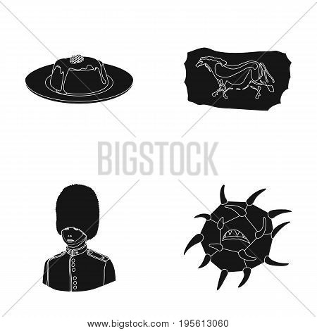 medicine, food and or  icon in black style.history, travel icons in set collection.