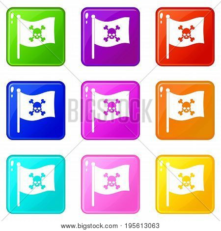 Pirate flag icons of 9 color set isolated vector illustration