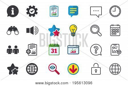 Information sign. Group of people and speaker volume symbols. Internet globe sign. Communication icons. Chat, Report and Calendar signs. Stars, Statistics and Download icons. Question, Clock and Globe