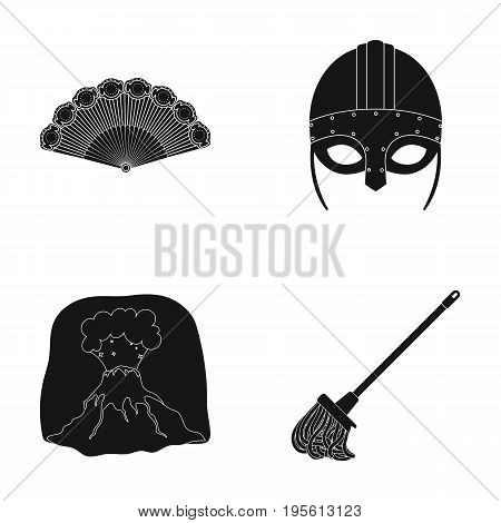 History, travel and or  icon in black style.archeology, cleaning icons in set collection.