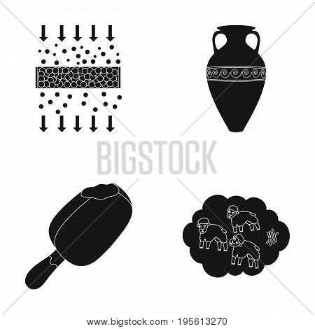 cleaning, food and or  icon in black style.history, sleep icons in set collection.