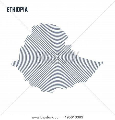 Vector Abstract Hatched Map Of Ethiopia With Spiral Lines Isolated On A White Background.