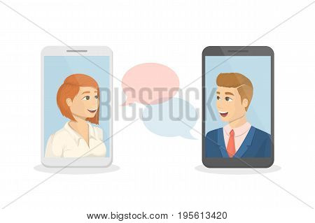 Voice call concept. Talking to each other through video on smartphone.