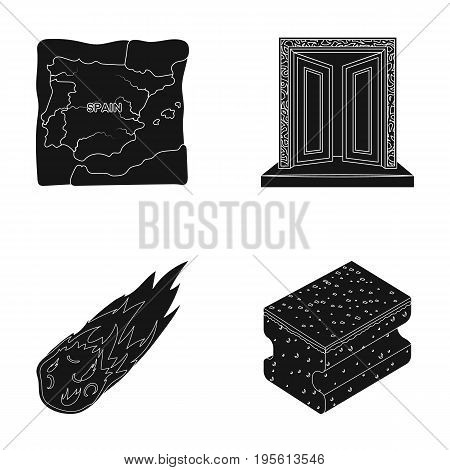 travel, Space and or  icon in black style.history, cleaning icons in set collection.