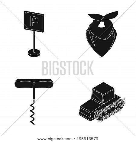 transport, alcohol and or  icon in black style. fashion, agriculture icons in set collection.
