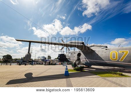 Kaliningrad Russia - July 14 2017: The amphibian plane Be-12 in an exhibition of the Museum of the World Ocean in Kaliningrad