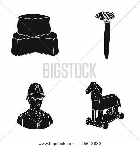 history, products and or  icon in black style. travel, weapons icons in set collection.