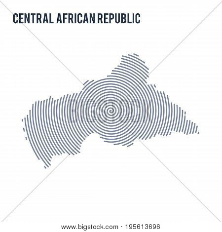 Vector Abstract Hatched Map Of Central African Republic With Spiral Lines Isolated On A White Backgr