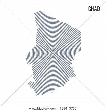 Vector Abstract Hatched Map Of Chad With Spiral Lines Isolated On A White Background.