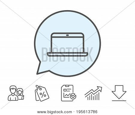 Laptop computer icon. Notebook sign. Portable personal computer symbol. Report, Sale Coupons and Chart line signs. Download, Group icons. Editable stroke. Vector