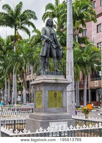 Port Louis Mauritius - December 25 2015: Statue of Mahe de la Bourdonnais governor of the Island of France (now Mauritius) and the Island of Bourbon (now Reunion) in Port Louis Mauritius.