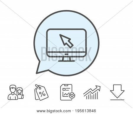 Computer or Monitor icon. Mouse cursor sign. Personal computer symbol. Report, Sale Coupons and Chart line signs. Download, Group icons. Editable stroke. Vector