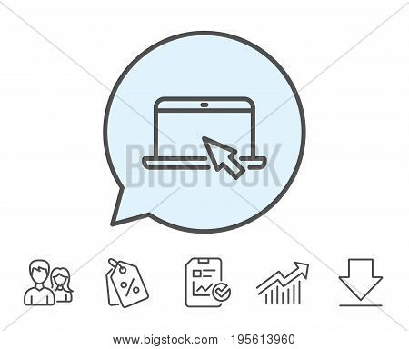 Laptop computer icon. Notebook with mouse cursor sign. Portable personal computer symbol. Report, Sale Coupons and Chart line signs. Download, Group icons. Editable stroke. Vector