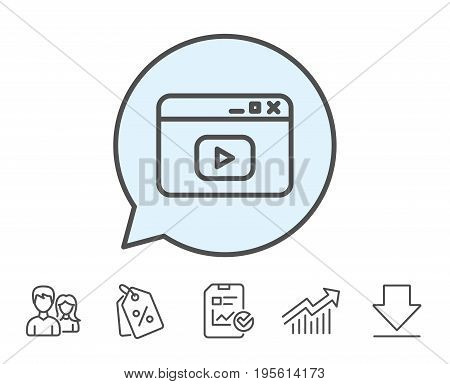 Browser Window line icon. Video content sign. Internet page symbol. Report, Sale Coupons and Chart line signs. Download, Group icons. Editable stroke. Vector