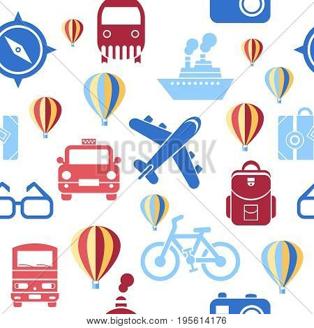 Digital vector green summer time travel transport icons set with drawn simple line art info graphic seamless pattern, ship boat camera balloon compass air plane map globe taxi card hotel, flat style