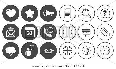 Mail, contact icons. Favorite, like and calendar signs. E-mail, chat message and phone call symbols. Document, Globe and Clock line signs. Lamp, Magnifier and Paper clip icons. Vector