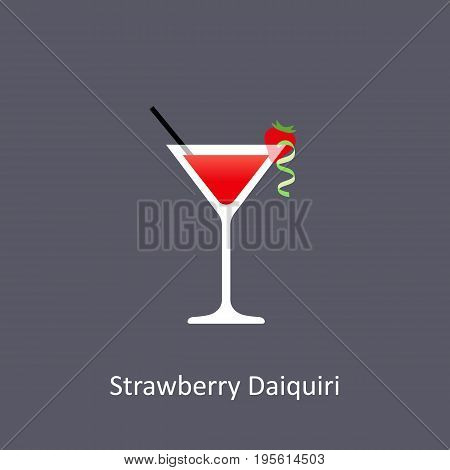 Strawberry Daiquiri cocktail icon on dark background in flat style. Vector illustration