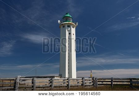 Editorial Antifer, France - July 05, 2017: - July 05, 2017: An unmanned lighthouse built in 1949 after the Germans destroyed the original one, situated on the cape of Antifer near the town of Etretat, in Seine-Maritime, in the town of La Poterie-Cap-d'Ant