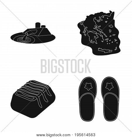 shoes, oil refining and or  icon in black style.traveling, cooking icons in set collection.