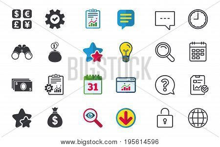 Currency exchange icon. Cash money bag and wallet with coins signs. Dollar, euro, pound, yen symbols. Chat, Report and Calendar signs. Stars, Statistics and Download icons. Question, Clock and Globe