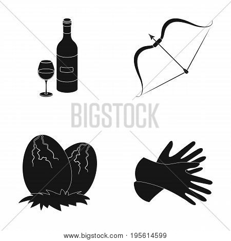 alcohol, history and or  icon in black style. weapons, style icons in set collection.