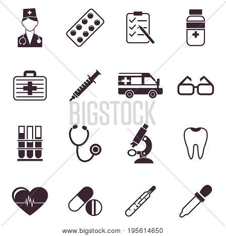 Digital vector black medical icons with drawn simple line art info graphic, ambulance tooth pills nurse heart tubes syringe medicine dropper first aid thermometer, flat style