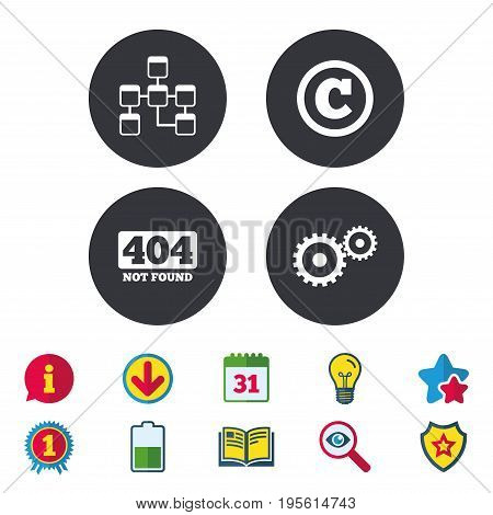 Website database icon. Copyrights and gear signs. 404 page not found symbol. Under construction. Calendar, Information and Download signs. Stars, Award and Book icons. Light bulb, Shield and Search