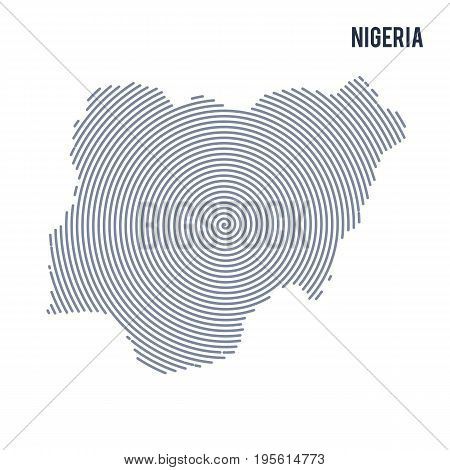 Vector Abstract Hatched Map Of Nigeria With Spiral Lines Isolated On A White Background.