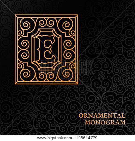 Flourishes luxury elegant ornamental monogram template with letter E in trendy linear style. Vector illustration.